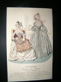 Le Follet C1840's Hand Coloured Fashion Print 769